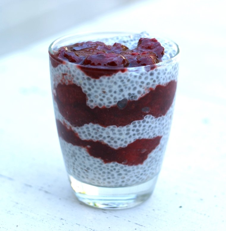 Ontbijttip: Chiapudding met aardbeien