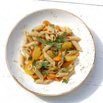 Pastasalade met sinaasappel en wortel Healthiness
